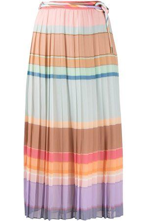 ZIMMERMANN Colour block pleated silk skirt
