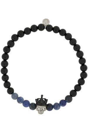 Tateossian King Skull beaded bracelet