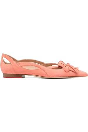 Scarosso Bow-detail pointed-toe ballerina shoes