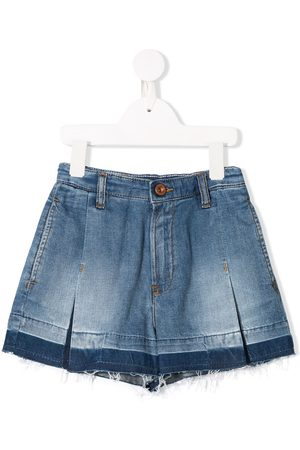 Diesel Inverted pleat frayed denim shorts