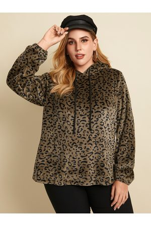 YOINS Plus Size Pullover Leopard Hooded Design Long Sleeves Sweatshirt