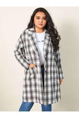 YOINS Plus Size Collar Plaid Side Pockets Long Sleeves Coat