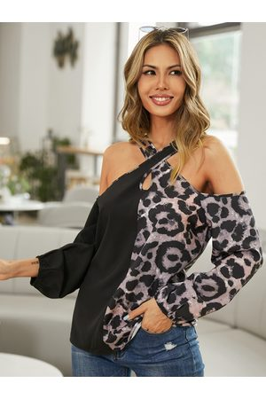 YOINS Leopard Patchwork Crossed Collar Long Sleeves Blouse