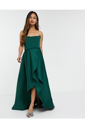 True Violet Exclusive prom midi high low with corset detail in forest