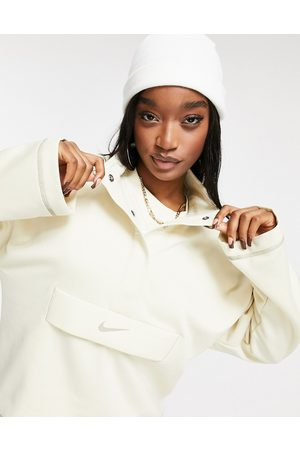 Nike Swoosh quarter zip funnel sweatshirt in oatmeal