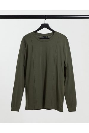 ASOS Long sleeve smart muscle fit t-shirt with pintuck detail in khaki