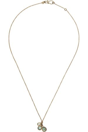 White Bird 18kt yellow triple sapphire pendant necklace