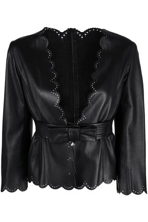 VALENTINO Scalloped belted leather jacket