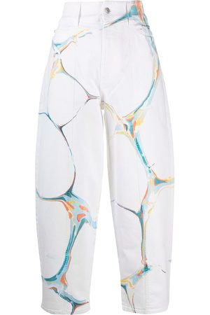 Stella McCartney Marble-print high-waisted jeans