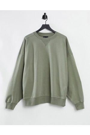ASOS Super oversized cocoon sweatshirt with panel detail in olive