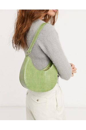 ASOS Curved shoulder bag in croc with long strap