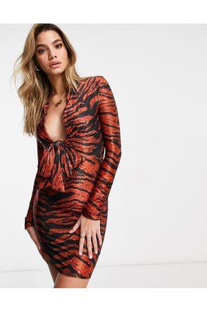 ASOS DESIGN Satin shirt tie plunge mini dress in animal print-Multi