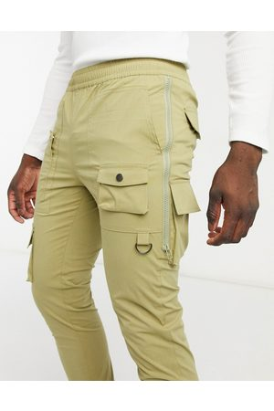 ASOS Skinny trousers with side zips in light khaki