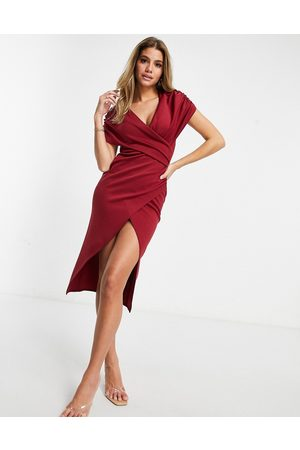 ASOS Ruched wrap around short sleeve midi wrap dress in oxblood