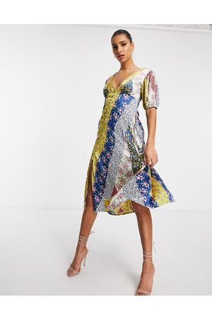 ASOS DESIGN Button through satin midi tea dress in mixed floral