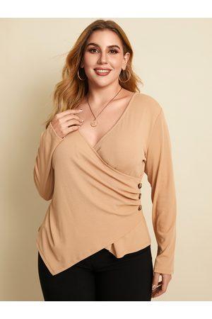 YOINS Women Long Sleeve - Plus Size V-neck Wrap Design Button Design Long Sleeves Tee