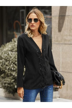 YOINS Criss-cross Lace-up V-neck Long Sleeves Sweatshirt