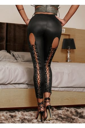 YOINS Lace-up Design High-Waisted Leggings