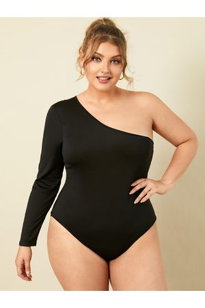 YOINS Plus Size One Shoulder Long Sleeves Bodysuit