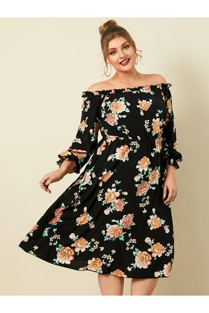 YOINS Plus Size Off The Shoulder Floral print 3/4 Length Sleeves Midi Dress