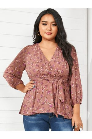 YOINS Women Blouses - Plus Size V-neck Calico Belt Design Wrap Design 3/4 Length Sleeves Blouse