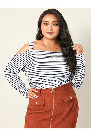 YOINS Women Long Sleeve - Plus Size Cold Shoulder Striped Long Sleeves Tee
