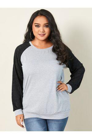 YOINS Plus Size Round Neck Patchwork Hollow Design Long Sleeves Sweatshirt