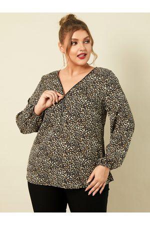 YOINS Women Blouses - Plus Size V-neck Leopard Zip Front Long Sleeves Blouse