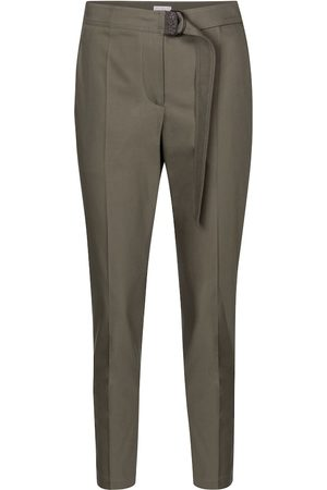 Brunello Cucinelli Belted stretch-cotton slim pants