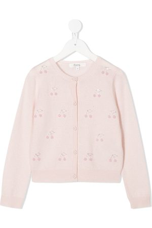 BONPOINT Cherry embroidered buttoned cardigan