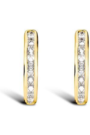 Pragnell 18kt yellow RockChic diamond hoop earrings