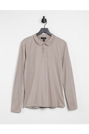 New Look Long sleeve muscle fit polo in mink