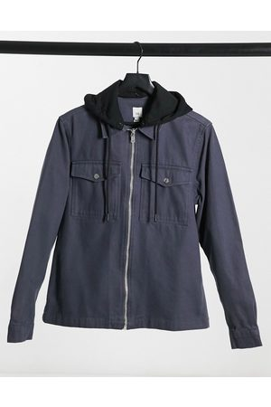River Island Overshirt with hood in