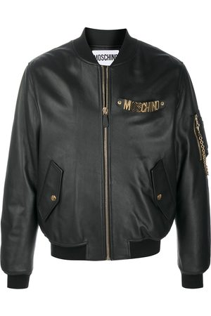 Moschino Logo plaque bomber jacket