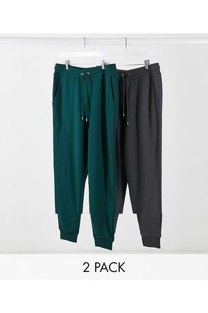 ASOS Organic tapered joggers 2 pack in green/washed black
