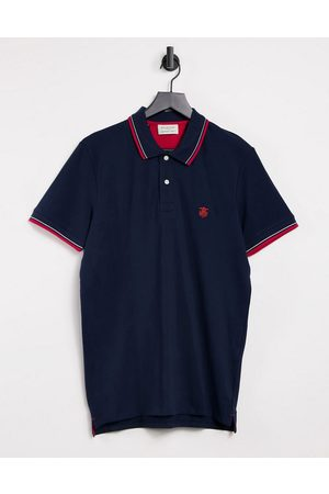 Selected Polo with tipping in navy & red