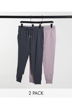 ASOS 2 pack super skinny lightweight joggers in washed black/purple