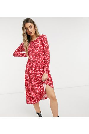 Wednesday's Girl Long sleeve midi smock dress in smudge spot print