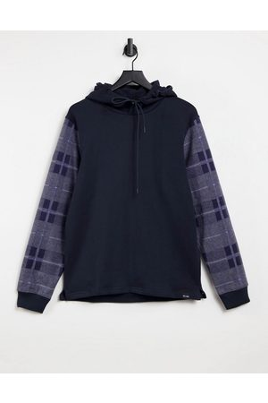 Only & Sons Hoodie with check sleeves in