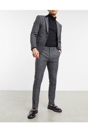 Shelby & Sons Slim fit suit trousers in charcoal dogtooth