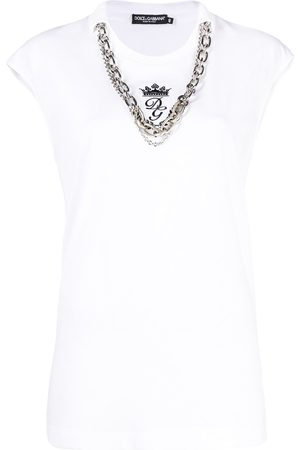 Dolce & Gabbana Necklace-detail logo-embroidered top