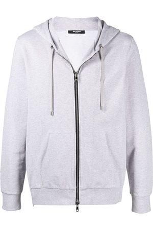 Balmain Logo print zip hoodie