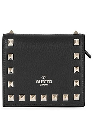 VALENTINO Garavani Rockstud Leather French Wallet