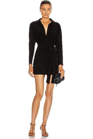 Norma Kamali Mini Tie Front Shirt Dress in