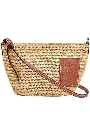 Loewe Women Handbags - Pochette Leather-Trimmed Raffia Crossbody Bag