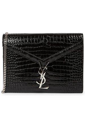 Saint Laurent Cassandra Croc-Embossed Patent Leather Wallet-On-Strap