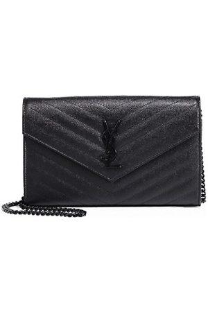 Saint Laurent Medium Monogram Matelassé Leather Wallet-On-Chain