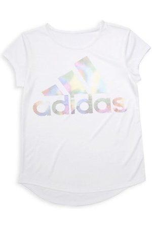 adidas Girls Short Sleeve - Girl's Climalite Rainbow-Foil Interlock Tee