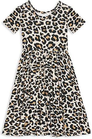 Posh Peanut Girls Printed Dresses - Little Girl's Lana Leopard-Print Twill Ruffle Dress