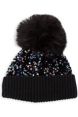 JOCELYN Girls Hats - Kid's Faux-Fur Pom Knit & Sequin Hat